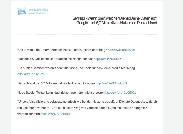 Social Media Newsletter - Screenshot