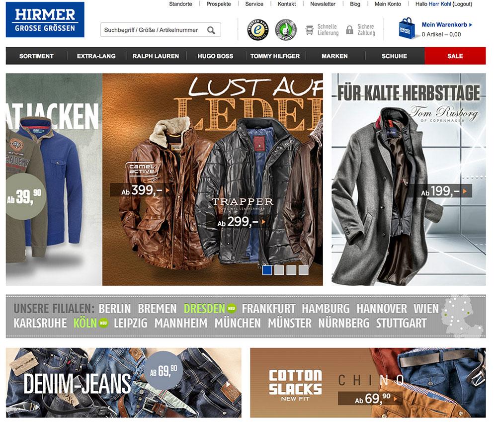 Screenshot vom Hirmer Onlineshop für große Größen